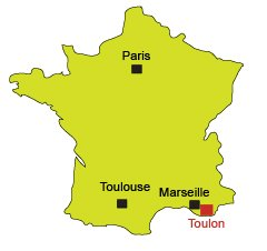 Location of Toulon in France