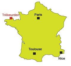 Carte de Trébeurden en Bretagne