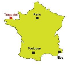 Map of Trégastel in France