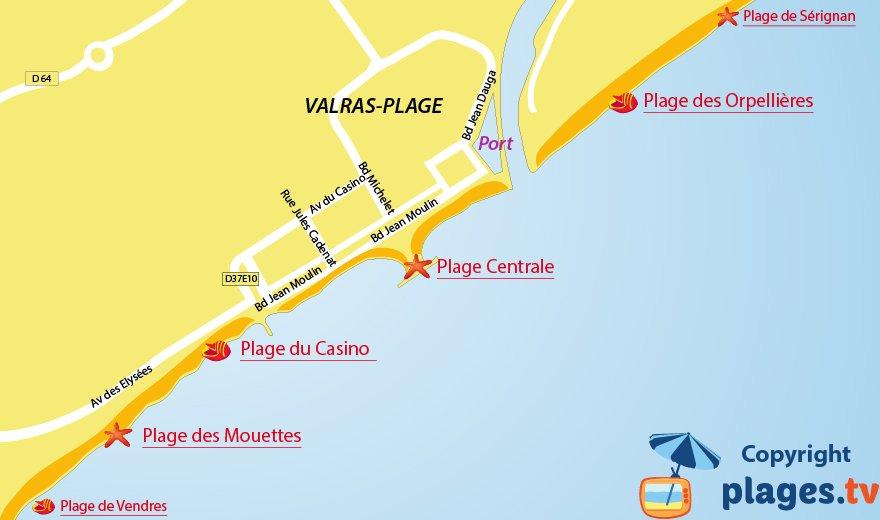 Carte des plages de Valras