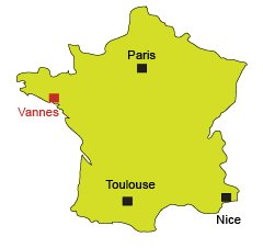 Location of Vannes in France
