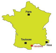Location of Vendres in France