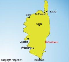 Localisation de Ventiseri en Corse