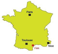 Mappa di Vias-Plage