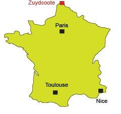 Localisation de Zuydcoote dans le nord de la France