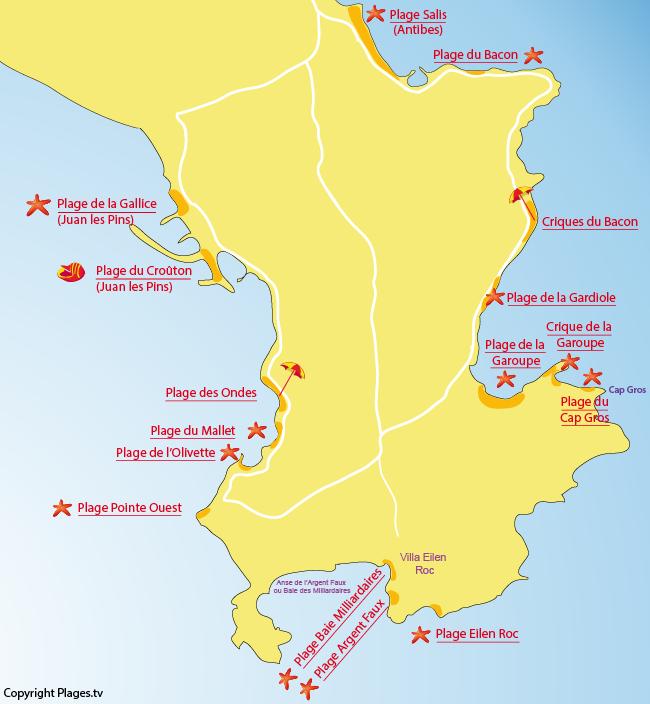 Carte des plages du Cap d'Antibes