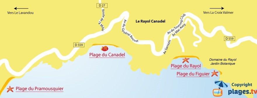 Plan des plages du Rayol Canadel dans le Var