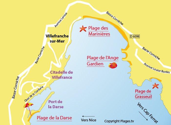 Carte des plages de Villefranche sur Mer (06)