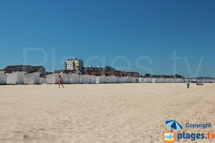 Bathing huts on the Calais beach in France