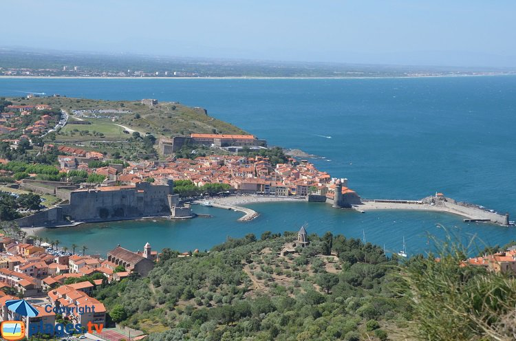 Aerial view of Collioure in France
