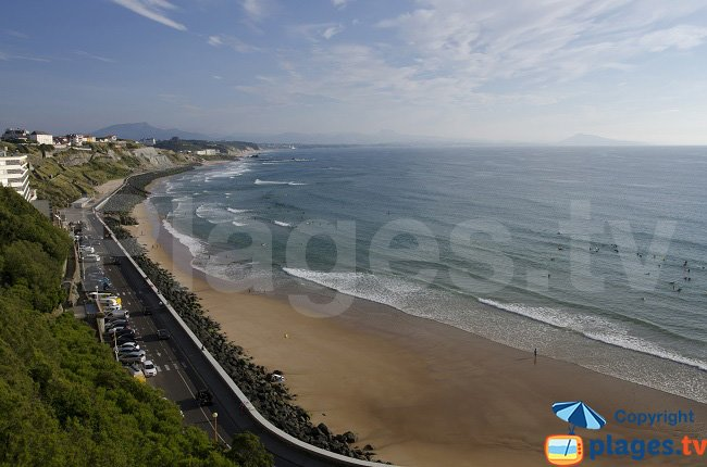 Cote Basque beach in Biarritz with its beach and the view on Spain