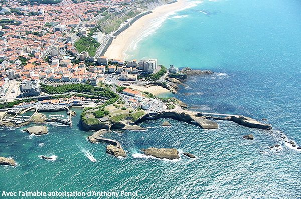 Aerial view of Cote des Basques beach and Biarritz