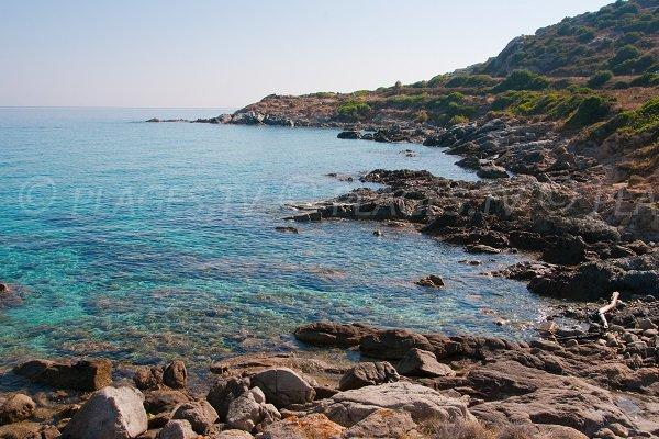 Rocky coast in Cala d'Olivu in Corsica