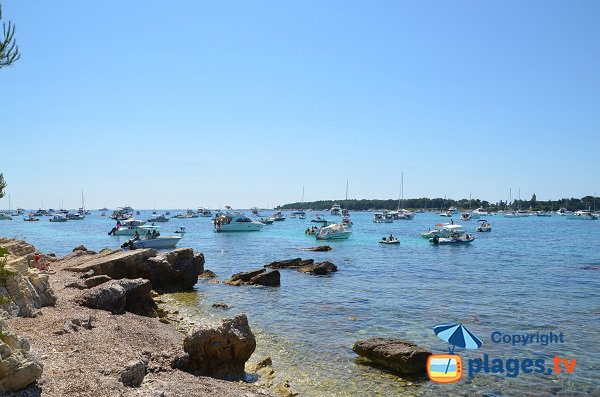 Cove on Ste Marguerite island with view on St Honorat island