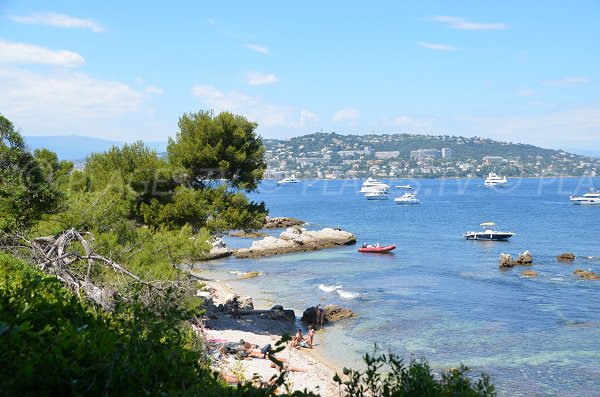 View of Cannes from the coves of the Lérins Islands