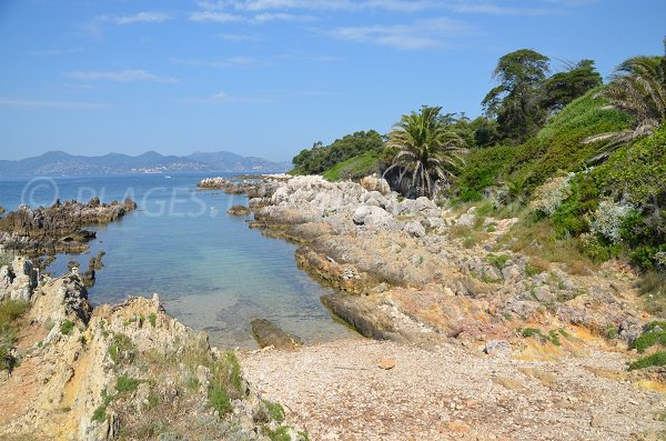 Beach near the chapel and St Pierre of St Honorat island