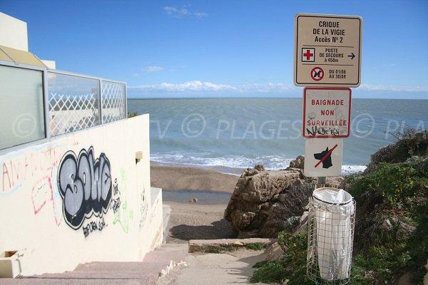 Accès à la crique de Vigie à Sète