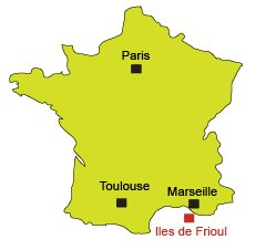 Localisation des iles de Frioul - Marseille
