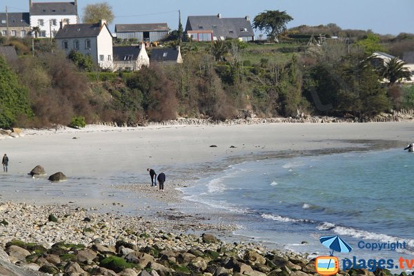 Great beach of Roscoff in France