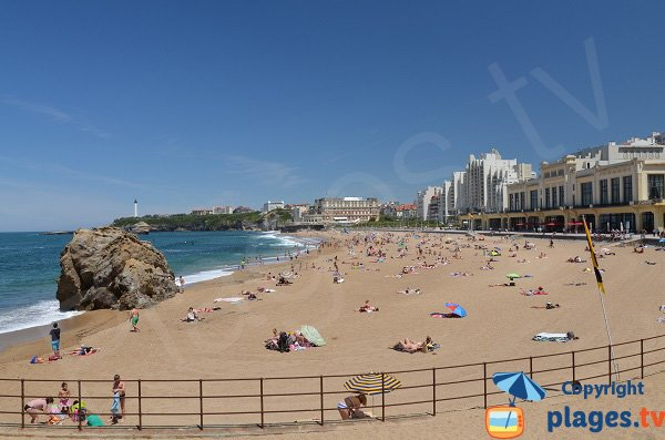 Central beach of Biarritz in summer