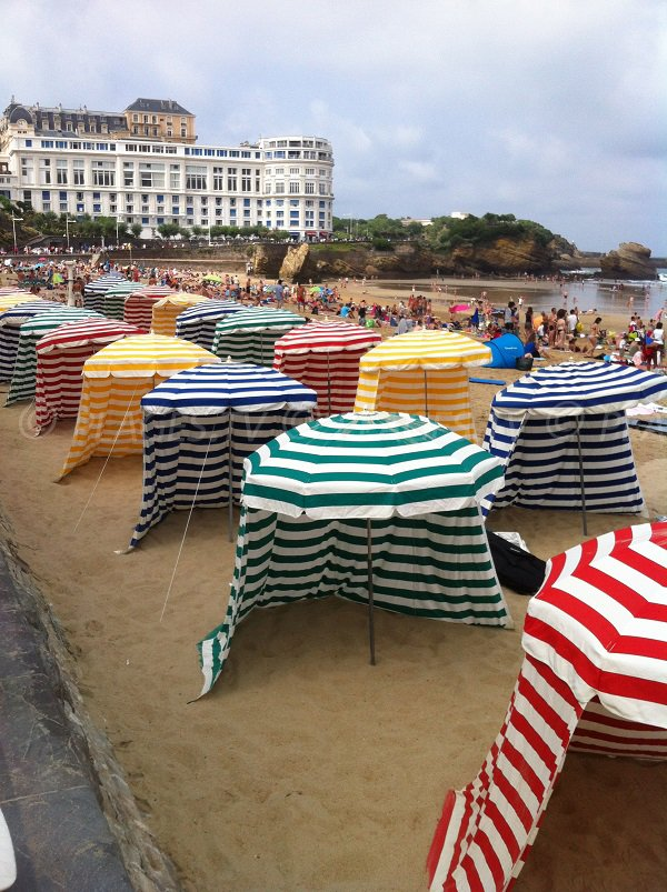 Colored tents on the Biarritz beach