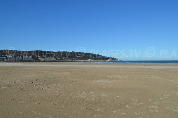 Hendaye beach and view on Spain