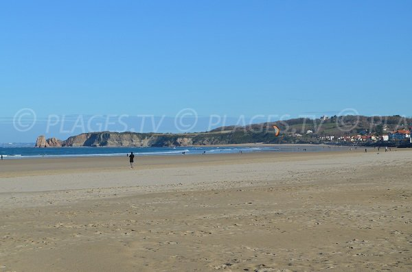 Grande beach of Hendaye and view on the twin rocks