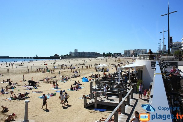 View of the port from the center of the large beach of Les Sables d'Olonne