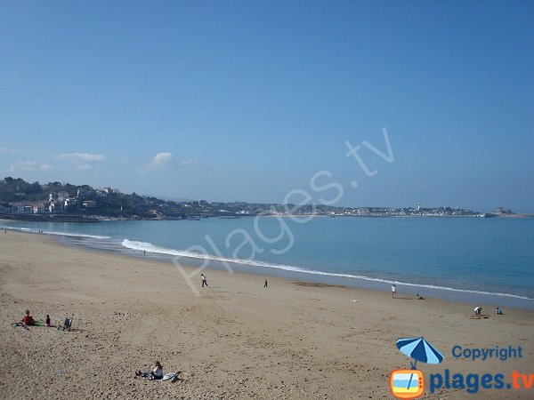 Main beach of St Jean de Luz and view on Ciboure