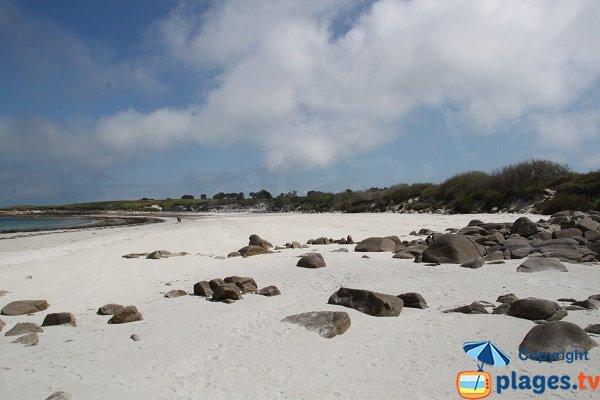 Large sand beach in Batz island in France