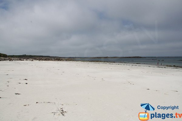 Widest beach of the Batz island in Brittany