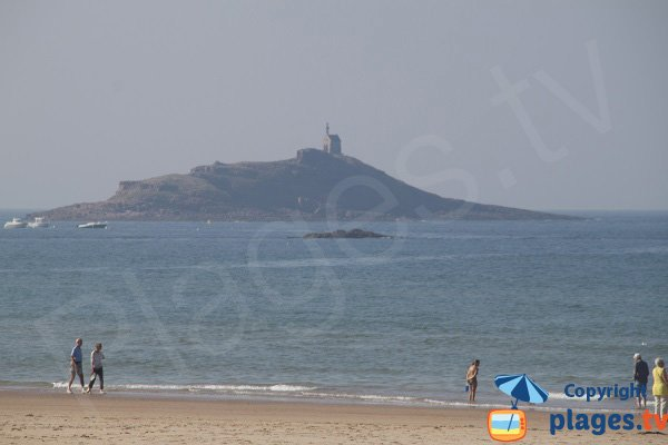 Island of St Michel from the beach of Sables d'Or les Pins