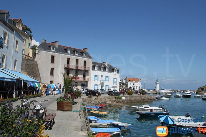 Hotels and restaurants on the port of Sauzon in Belle Ile