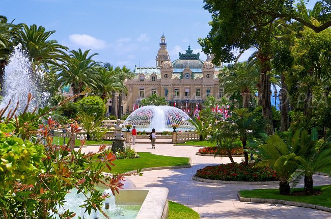 Garden and foutain in the casino area of Monaco