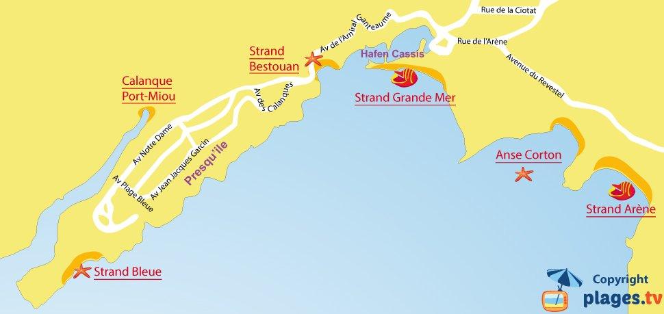 Karte Strände von Cassis - Frankreich