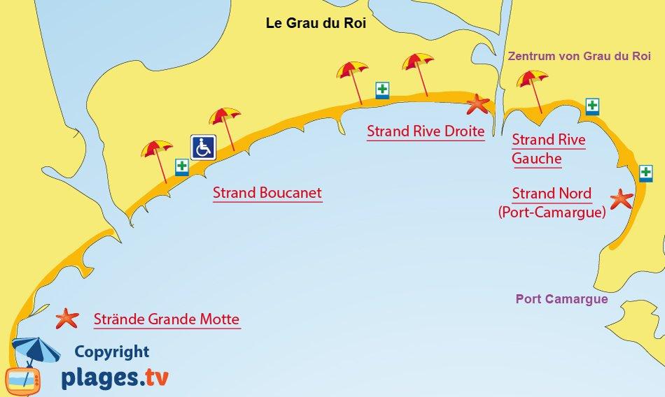 Karte Strande Grau du Roi in Frankreich