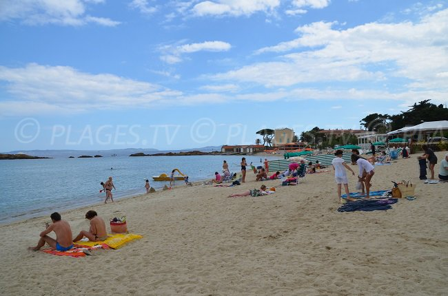 Saint Clair beach in Le Lavandou in south of France
