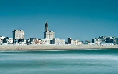 Seaside front and beach of Le Havre - France