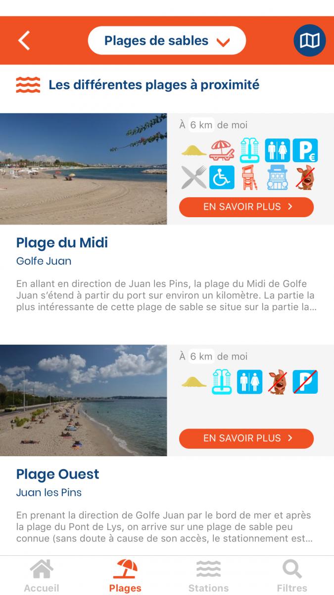 Page des plages les plus proches sur l'application Android
