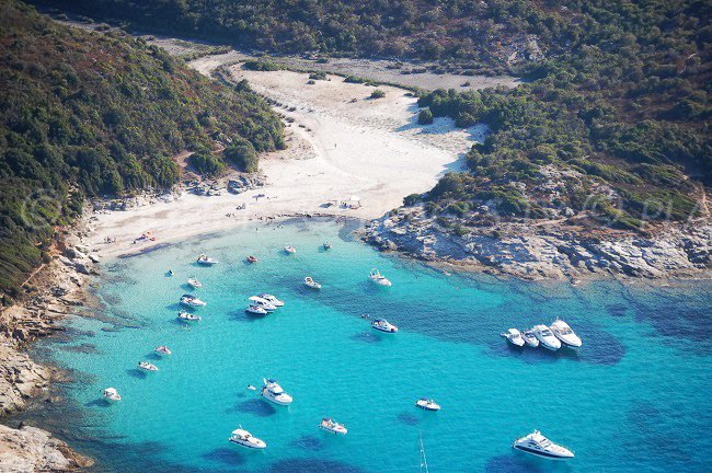 Aerial view of Lotu Beach in Corsica