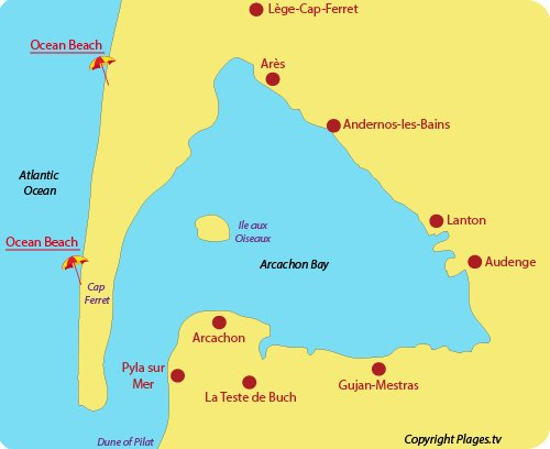 Map of seaside resorts and beaches in the Arcachon Bay