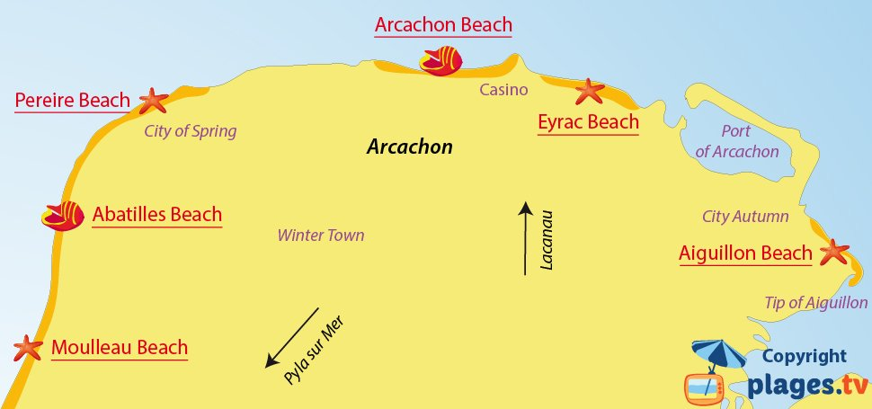 Map of Arcachon beaches in France