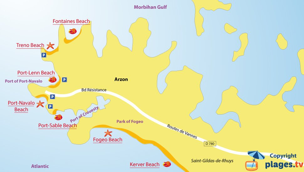 Map of Arzon beaches in Brittany - France