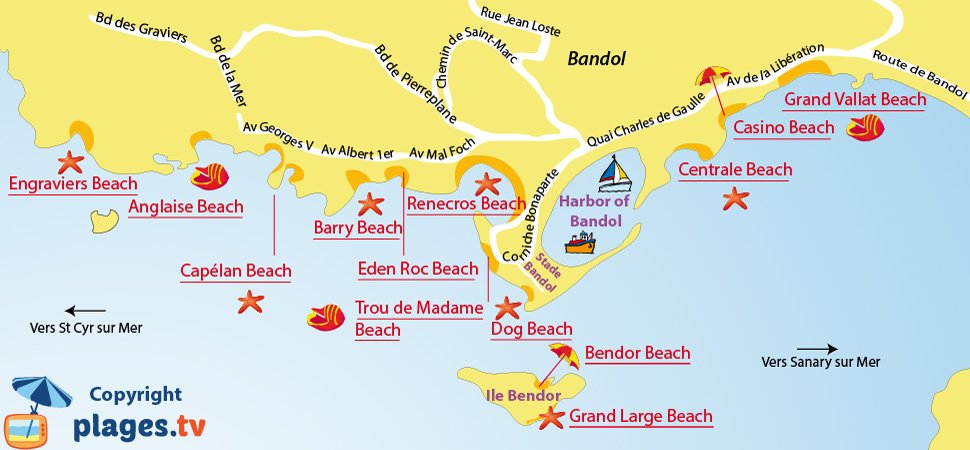 Map of the Bandol beaches in France