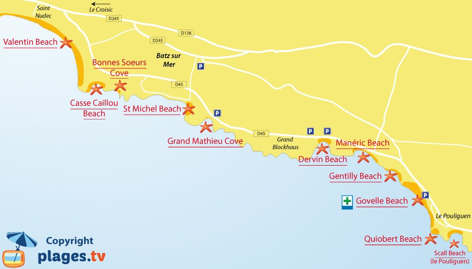 Map of Batz sur Mer beaches in France