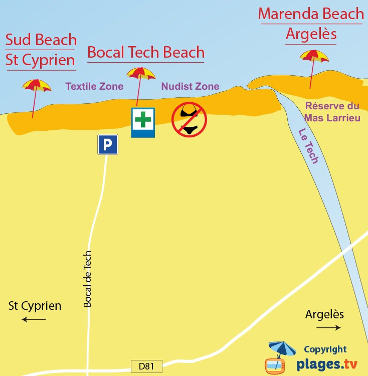 Map of Elne Beach in France