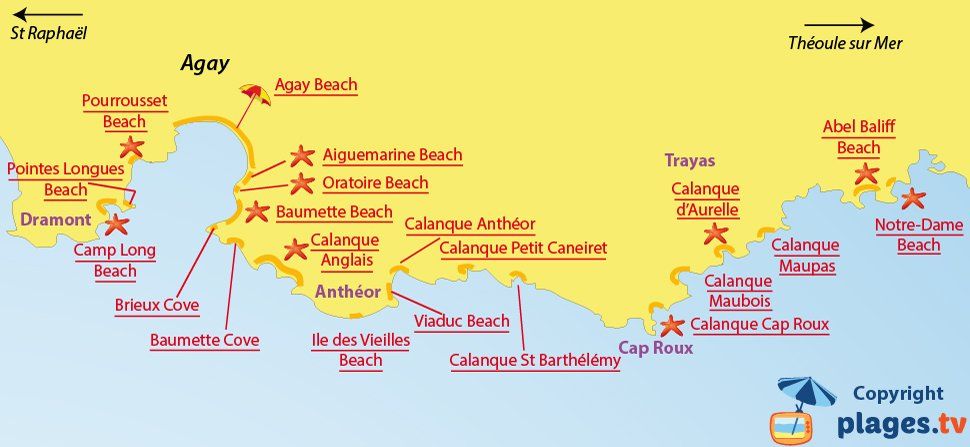 Map of Agay beaches in France