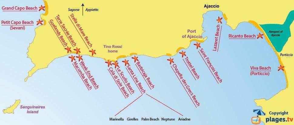 Map of Ajaccio in Corsica