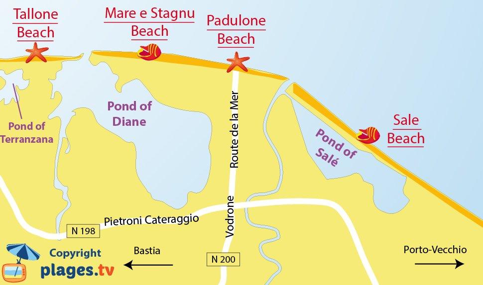 Map of Aleria beaches in Corsica