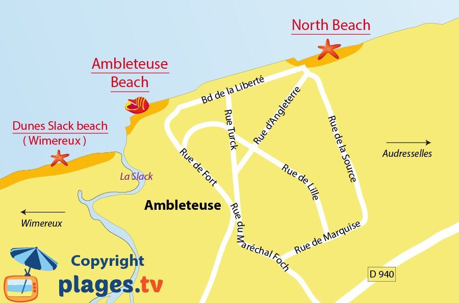 Map of Ambleteuse beach in France